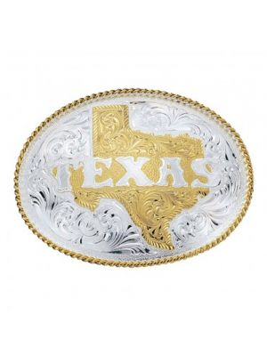 Montana Silversmiths Silver Engraved with Etched State of Texas Buckle