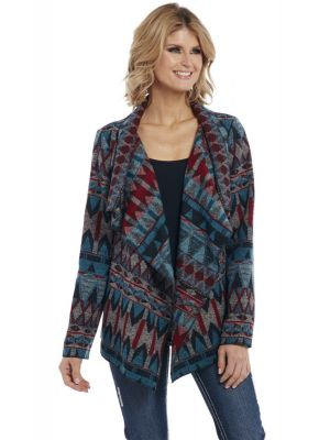 Cripple Creek Navajo Open Front Black Wrap Jacket