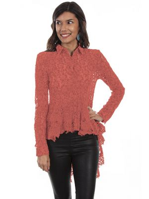 Scully Lace Button Up Double Ruffle Blouse
