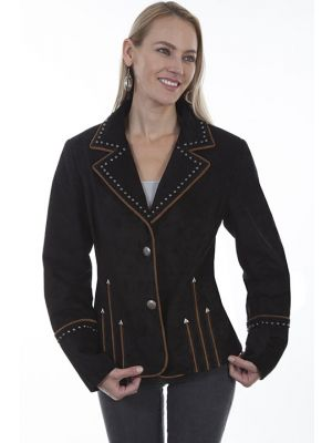 Scully Arrowhead Studded & Piped Suede Blazer