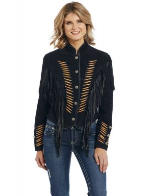 Cripple Creek Women's Beaded Suede Fringe Military Jacket
