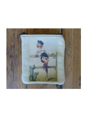 Rockmount Pin Up On Fence Coin Leather Purse