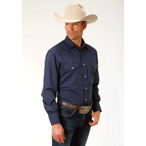 Roper Navy & White Pinstripes Shirt