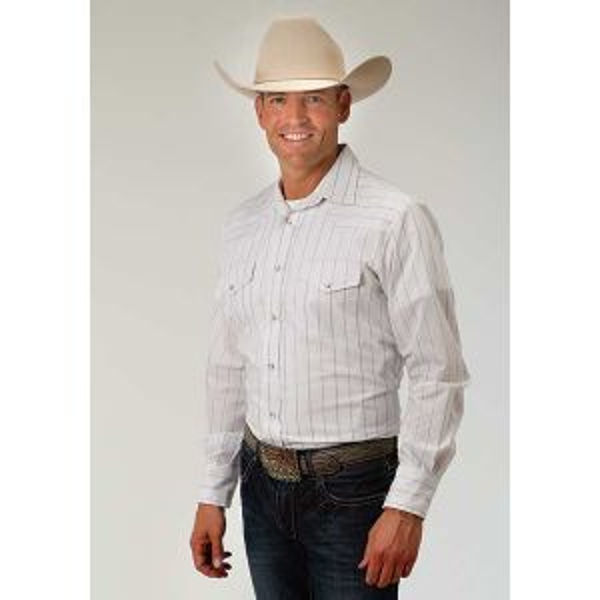 Roper Classics White with Navy Stripes Shirt
