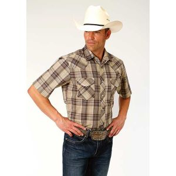 Roper Brown & Tan Plaid Shirt