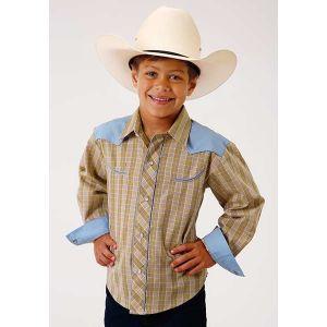 Roper Tan, White, & Blue Plaid Boy's Shirt