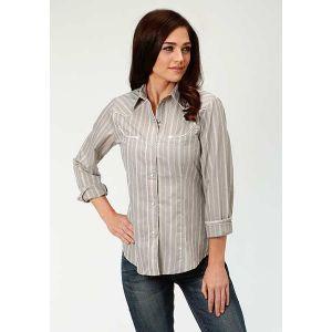 Roper Dove Grey Tone on Tone Stripe Shirt