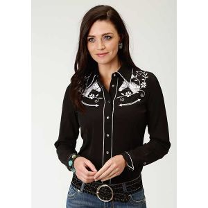 Roper Old West Collection Shirt with Horse and Floral Embroidery