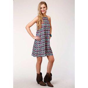 Roper Navy Aztec Print Dress