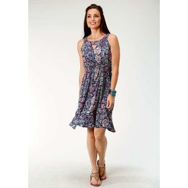 Roper Blue Paisley Floral Print Dress