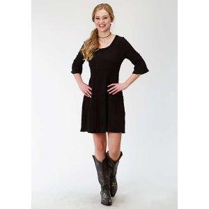 Roper Jet Black Cotton Crepe Dress