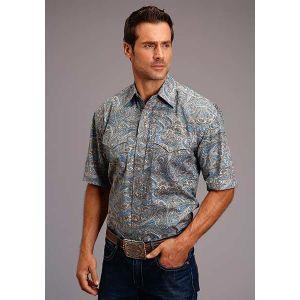 Stetson Men's Collection Blue Saddle Paisley Shirt