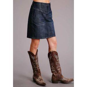 Stetson Denim Skirt with Slanted Front Pocket