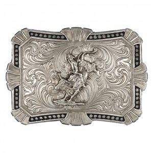Montana Silversmiths Antiqued Trailblazer Buckle with Bullrider