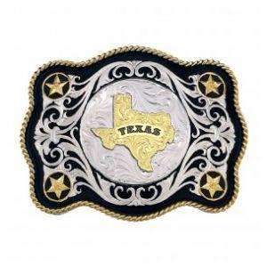 Montana Silversmiths Scalloped Sheridan Style Western Belt Buckle Texas State