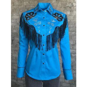 Rockmount Women's Fringe & Embroidery Cotton Gab Western Shirt