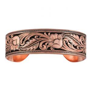 Montana Silversmiths Burnished Leather Cut Floral Cuff Bracelet