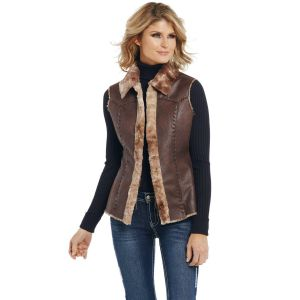 Cripple Creek Open Front Faux Shearling Vest with Hand Lacing