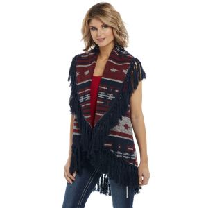 Cripple Creek Open Front Navajo Blanket Vest with Accent Fringe Trim