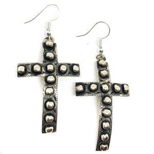 Tres Rios Silver Cross Bead Earrings