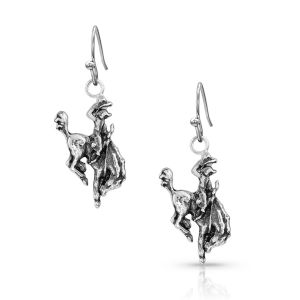 Montana Silversmith Hang On To Your Hat Bronc Rider Charm Earrings