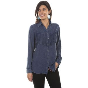 Scully Demin Fringe Blouse