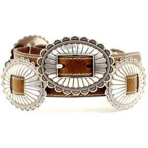 Nocona® Ladies' Brown Leather with Silver Conchos Belt