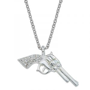 Silver Pistols with Rhinestone Handles Necklace