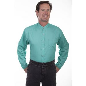 Scully RangeWear Turquoise Button Front Band Collar Shirt