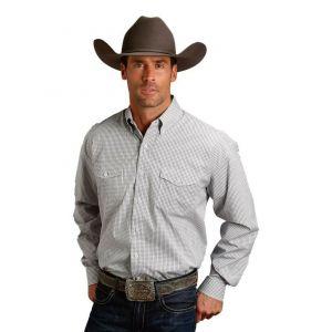 Stetson Men's Long Sleeved Navy Check Shirt