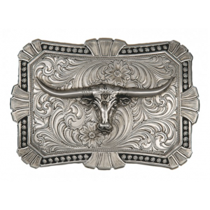 Montana Silversmiths Antiqued Trailblazer Buckle with Longhorn