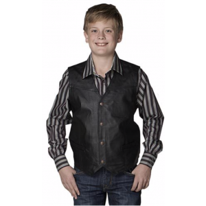 Cripple Creek Boys Black Leather Vest