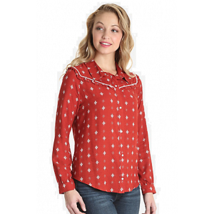 Wrangler Retro Long Sleeve Ruffle Yoke Western Snap Top