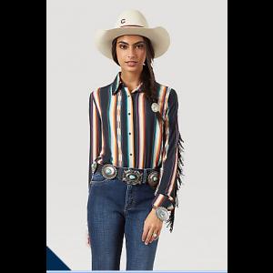 Wrangler Women's Retro Western Fringe Snap Front Blouse