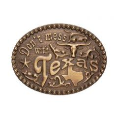 And West Don't Mess With Texas Belt Buckle