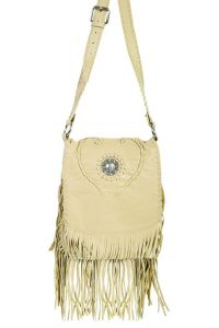 Scully Concho and Fringe Leather Handbag