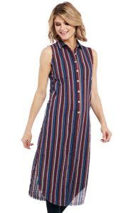 Cowgirl Up Long Sleeveless Button Down Duster Dress with Lace Up Side Detail