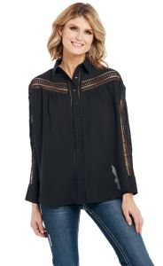 Cowgirl Up Relaxed Fit Button Down Top with Crochet Lace Insert