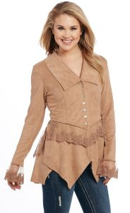 Cripple Creek Microsuede Button Front Jacket with Lace Cuffs & Trim