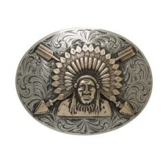 "And West ""Sonoyta"" Vintage Indian Chief Buckle"