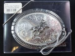 Antique Silver Cowboys & Indians w/ Rope Buckle