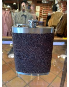 Stainless Steel Embossed Leather Covered 8 Oz. Flask
