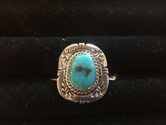 Colorado Turquoise Silver Rope Ring