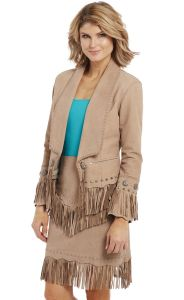 Cripple Creek Open Front Multi-Studded and Hand Laced Nubuck Lamb Jacket