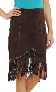 Cripple Creek Studded and Fringed Suede Skirt