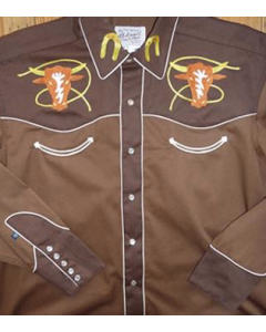 Rockmount Kid's Embroidered 2 Tone Steer Western Shirt