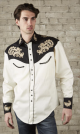 Rockmount Natural & Black Vintage Shirt with Tan Floral Embroidery